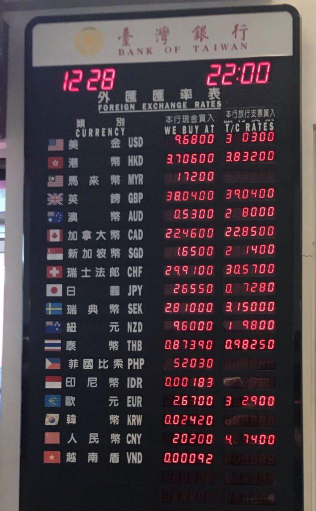 桃園国際空港の両替所のレート